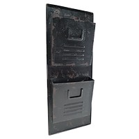 Vintage Black Metal Wall Locker Mail Organizer 31-1/2-in