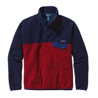Patagonia Men's Lightweight Synchilla® Snap-T® Pullover   Classic Red w/Navy Blue