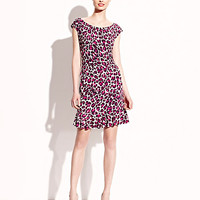 BetseyJohnson.com - CAP SLEEVE LEOPARD DRESS WITH RUFFLE PINK