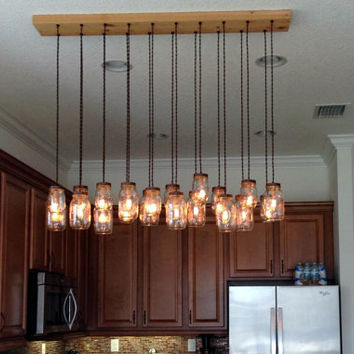 20 Light DIY Mason Jar Chandelier - Rustic Cedar