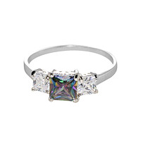 Sterling Silver Ring Square Mystic Topaz & Clear 3 Stone Cubic Zirconia CZ