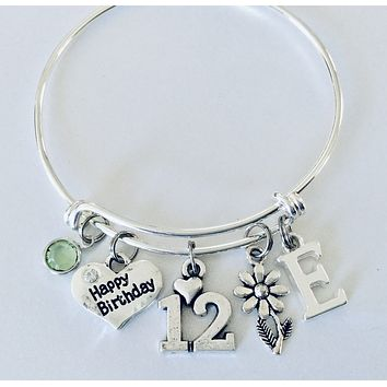 Personalized Happy 12th Birthday Gift for 12 Year Old Girl Expandable Silver Charm Bracelet Adjustable
