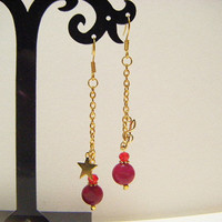 Wine red long earrings, gift for her, long color jade earrings, wine red long dangle earrings, wine red earrings with G clef parts and star.