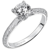 """Artcarved """"Imani"""" Knife Edge Engraved Solitaire Diamond Engagement Ring"""
