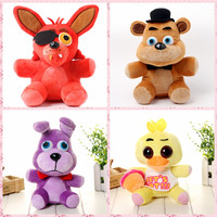 "Five Nights At Freddy's 4 FNAF Freddy Teddy Bear and foxy wolf stuffed animals Plush Toy Dolls 10"" for baby kids christmas gift"