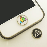 1PC Retro Glass Epoxy Transparent Times Gems Deathly Hallows Alloy  Cell Phone Home Button Sticker Charm for iPhone 6, 4s,4g,5,5c Kids Gift