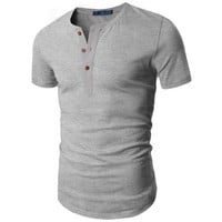 Doublju Men's Short Sleeve Henley Shirts