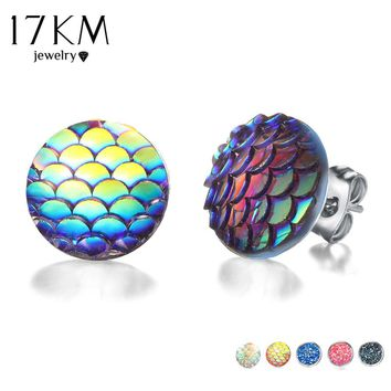 17KM Multicolor Holographic Round Mermaid Stud Earrings Brincos Piercing Fish Scale Pattern Earring For Women Bijoux Jewelry
