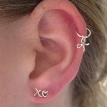 Mini Bow on a Tiny Hoop, Sterling Silver Cartilage Earring