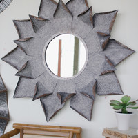 Large Zinc Flower Mirror