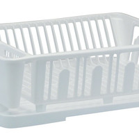 United Solutions SK0012 Two Piece Dish Rack and Drain Board Set in White-2 Piece Large Sink Set Includes Dish Drainer and Drain board with Room for 14 Plates, 7 Small Plates/Bowls, and 8 Cups/Glasses plus Flatware