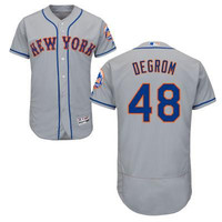 White-Royal grey blue Jacob DeGrom Authentic Jersey , Men's #48 New York Mets Flexbase Collection