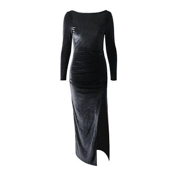 Elegant Women Velvet Fabric Long-sleeve Side-slit Bodycon Dress