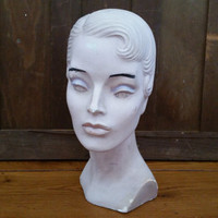 Vintage Plaster Molded Hair Mannequin Head