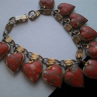 ON SALE Vintage Red White & Gold Heart Charm Bracelet, Very Pretty Gift Idea For Her, Mid Century 1950's Collectible Costume Jewelry
