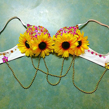 Sparkle Sunflower Princess Rave Bra