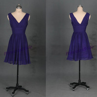 Short grape chiffon bridesmaid dress in 2014,cute simple women dress for wedding party,cheap v-neck prom gowns under 100.