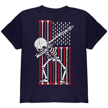 4th of July Dabbing Skeleton American Flag Skulls Youth T Shirt