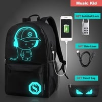 Anime Backpack School Qiaodi Student School Backpack kawaii cute Luminous USB Charge Laptop Computer Backpack for Teenager Anti-theft Boy School Bag mochila AT_60_4