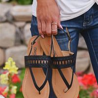 All In Stride Woven Sandals - Black
