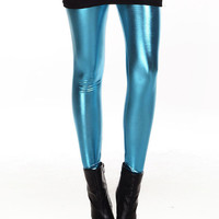 Lake Blue Shiny Metal Leggings