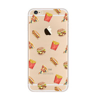 French Fries Pizza Hot Dog Burger Fast Food iPhone 6s 6 Plus SE 5s 5 Soft Clear Case