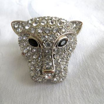 Vintage Rhinestone Panther Ring, Leopard Stretch Ring, Jungle Animal Jewelry