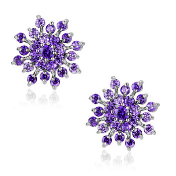 Snowflake W. Purple Round Cubic Zirconia Stud Earrings