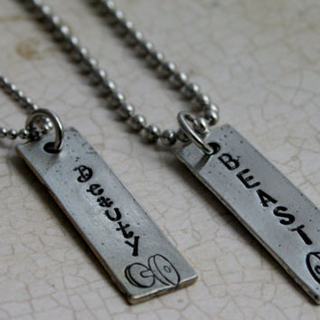 """Fitness Jewelry, Hand stamped Custom Pewter rectangle necklace """"Beauty/Beast"""" Couples Jewelry Weightlifting Jewelry Bodybuilding necklace"""