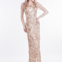 Beautifly Nude Golden Matte Sequins Long Sleeves Ball Gown