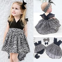 2T- 6Y Fashion Baby Girl Leopard Dress + Headband 2pcs Outfit