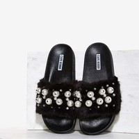 Ball's in Your Court Faux Fur Slide Sandal