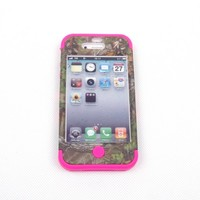 JUSTING@Triple Layer Hybrid Real Tree Camo Hybrid Hard Case Cover for iPhone 5/5S (hot pink)