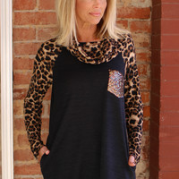 On The Cowl Leopard Print Tunic With Sequin Pocket ~ Black ~ Sizes 4-10