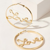 Letter Decor Hoop Earrings 1pair