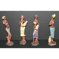 "4 African Tribal Ladies with Pots 9.5"" Figurines in Colorful Dresses"