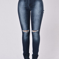 Suns Out Buns Out Jeans - Dark Blue