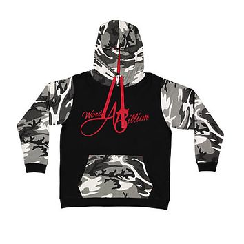 WorthABillion Split Camo Hoodie (black,fatigue , red)