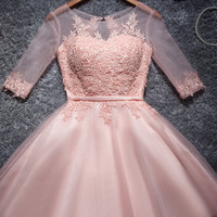 Short sleeve top party dress dress pink homecoming dress