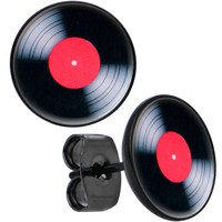Black Anodized Post Red Label Vinyl Rock Me Record Stud Earrings