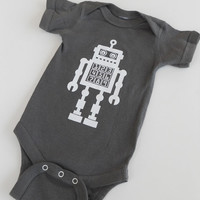 Robot Baby Onesuit Screen Printed Grey by countercouturedesign