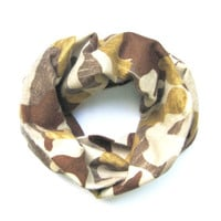 Camouflage Kid Scarf Child Flannel Scarf Baby Shower Gift Toddler Scarf Military Boy Scarf Baby Bib Scarf Brown Tan Gold Ready to Ship