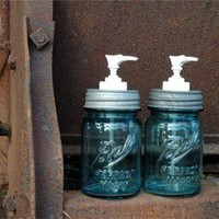 The Country Barrel — Set of 2 Antique Blue Pint Mason Jar Soap Dispenser with Authentic Zinc Lid