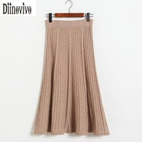 Vintage style Fashion Pleated Skirt Women Elegant knitted Skirts 2017 New Autumn Winter High Waist  A-Line Long Skirts Saia D149