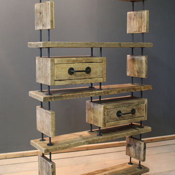 Modern Rustic Living Room / Office Shelving Unit. Made from reclaimed timber and Mild steel (The Copford)
