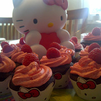 Instant Download - Hello Kitty Face Cupcake Wrapper with Red Bow Print at home