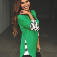 Green Tunic- Striped Sleeves