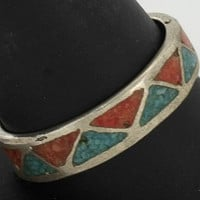 Vintage Native American Sterling Silver Coral, Turquoise Triangle, Chip Inlay (Sz 10.75) Ring 4.2g  NA1401