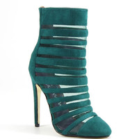 Luichiny Shoes Carried Away Booties - Emerald Green