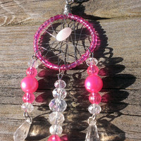 Dream Catcher necklace - Pink GirlyDreamCatcher Jewelry - Pink Rose Quartz  - Crystal Gemstone Jewelry - Wiccan Jewelry - Pagan Jewelry